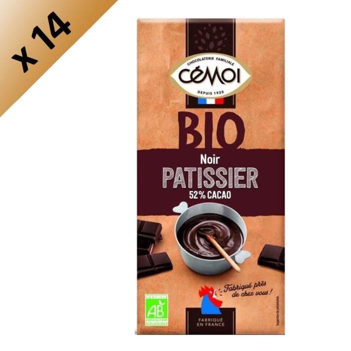 CEMOI Lot de 14 Tablettes - Dessert Chocolat noir 52% de cacao - Bio - 175 g