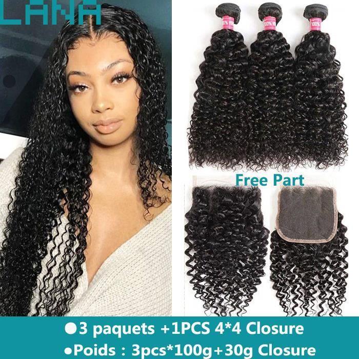 Cheveux Humains BOUCLÉS brésiliens 3 Paquets Avec 4x4 Lace Closure (18-18-18-+14-closure)