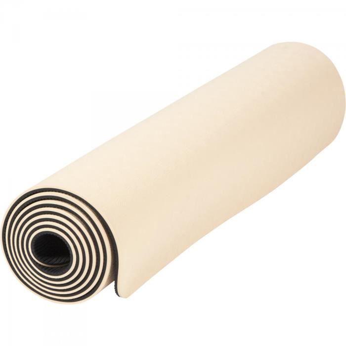 Tapis de Yoga - pilates - en TPE - double face bicolor noir et abricot de 180cm x 60cm x 0,6cm