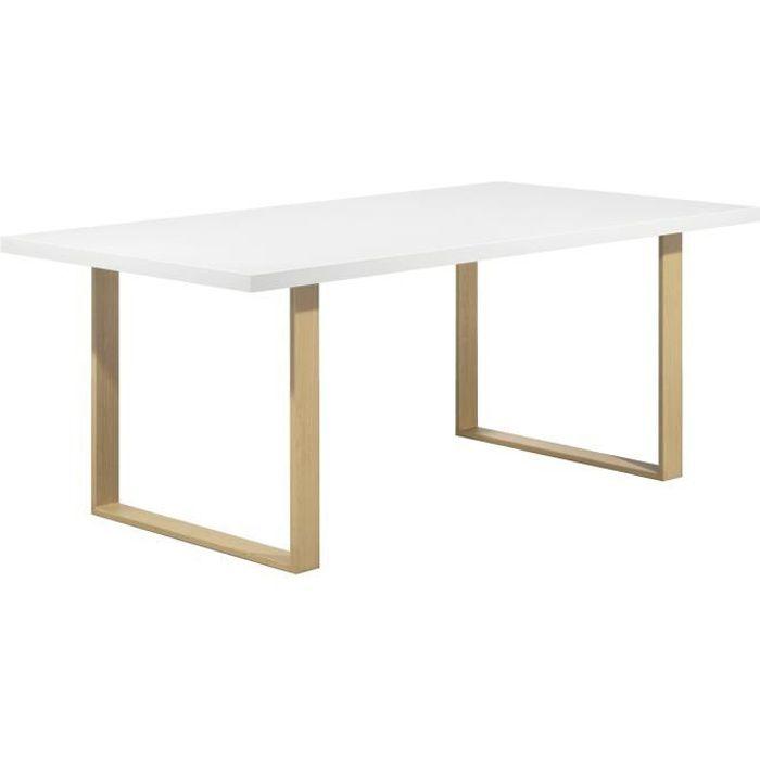 MACON Table de salle à manger plateau aspect chêne blanchi pieds aspect bois 160 cm