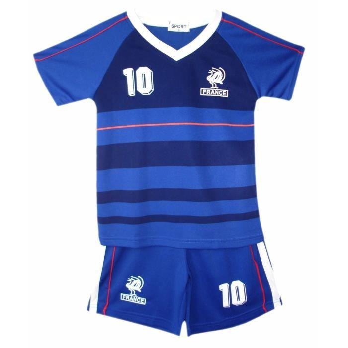 Ensemble De Vetements De Football - Tenue De Football - NPZ - Ensemble de Foot Maillot + Short France numéro 10 Enfants bleu