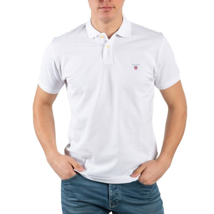 Gant Homme Polo Manche Courte Blanc