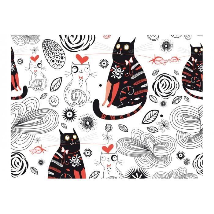 taille 250x193 Joli Papier peint chats, coeurs, amour, ornements, pour enfants, animaux, noir et blanc