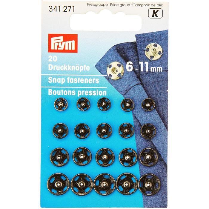 Assortiment de 20 boutons pression à coudre laiton 6-11 mm noir Prym