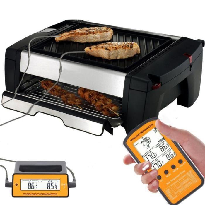 Digital Télécommande sans fil Thermomètre de cuisson de la viande Nourriture Fumoir Thermomètre avec sonde double et pro