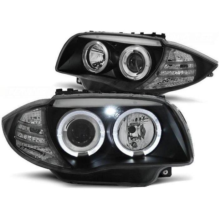 2 FEUX PHARE AVANT ANGEL EYES LED POUR BMW SERIE 1 E87 E88 ET E81 E82 A FOND NOIR