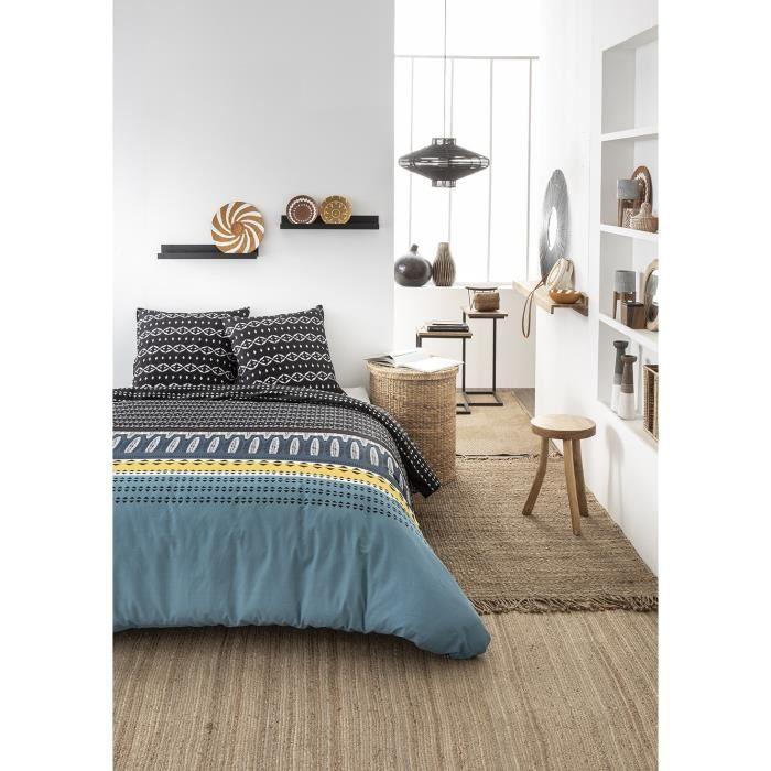 TODAY Parure de lit Mawira 1.1 - 1 housse de couette 220 x 240 cm et 2 taies d'oreiller 63 x 63 cm - 100% coton - Bleu