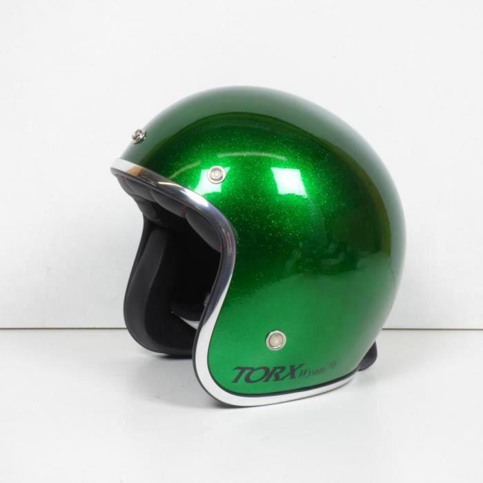 Casque bol jet Torx Wyatt vert pailleté brillant Taille XS moto scooter custom