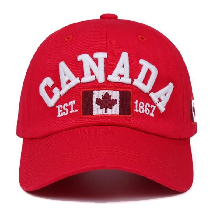 Red CANADA-Adjustable -Casquette de Baseball en coton pour hommes et femmes, chapeau de marque de haute qualité, ajustable, style Hi