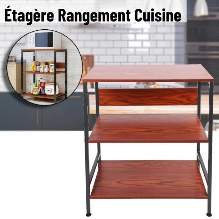 Étagère pour Four à Micro Ondes 60 x 35 x 66,5 cm 2 niveau Organisateur de Rangement de Cuisine Marron Y2372