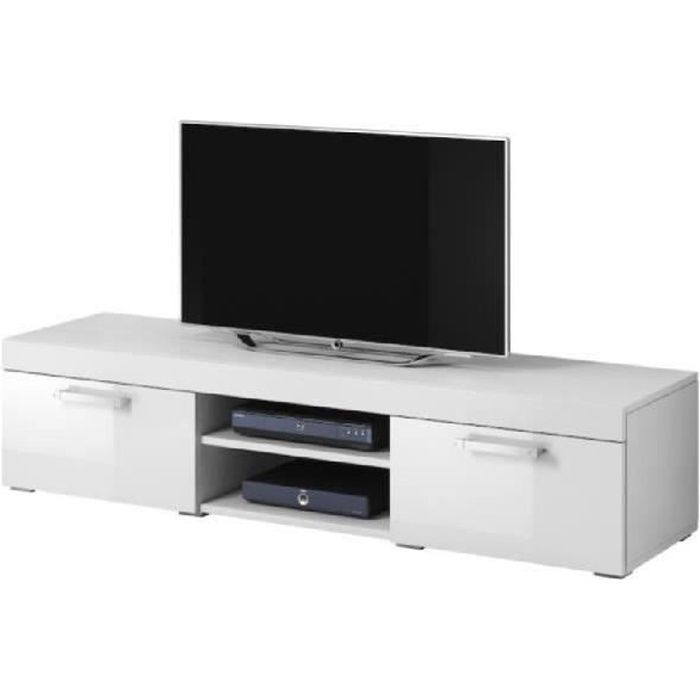 mambo meuble tv contemporain d cor blanc 160 cm achat vente meuble tv mambo meuble tv. Black Bedroom Furniture Sets. Home Design Ideas