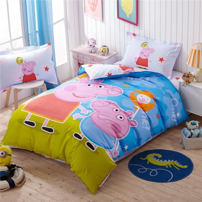 parure de lit parure de couette peppa pig enfant 100 coton 1 housse de couette 140x 200 cm 1. Black Bedroom Furniture Sets. Home Design Ideas