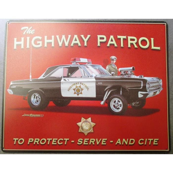 plaque highway patrol voiture police usa garage deco diner achat vente objet d coration. Black Bedroom Furniture Sets. Home Design Ideas