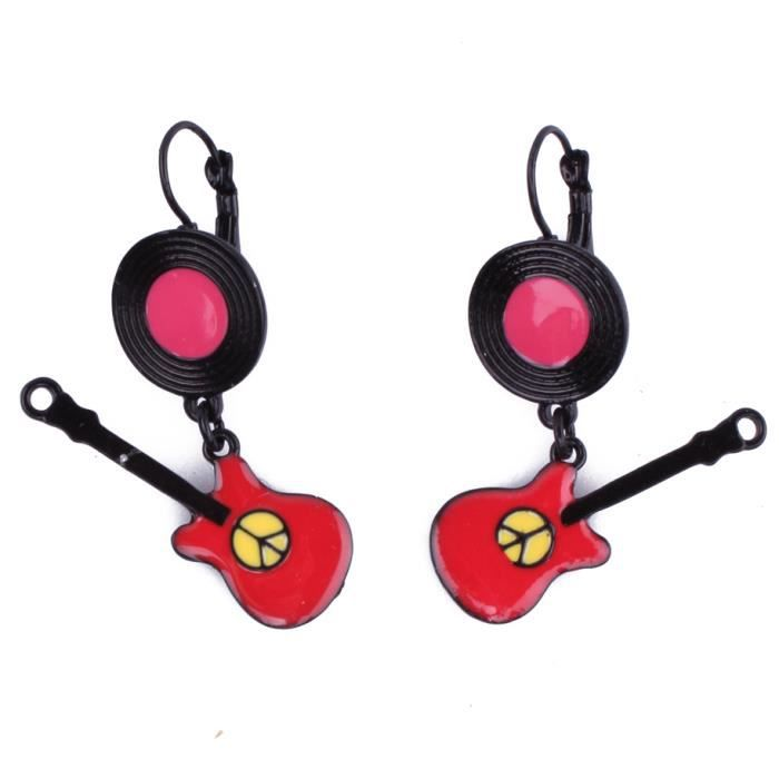 Boucles d 39 oreilles guitares peace and love rouges et roses - Boucle d oreille peace and love ...