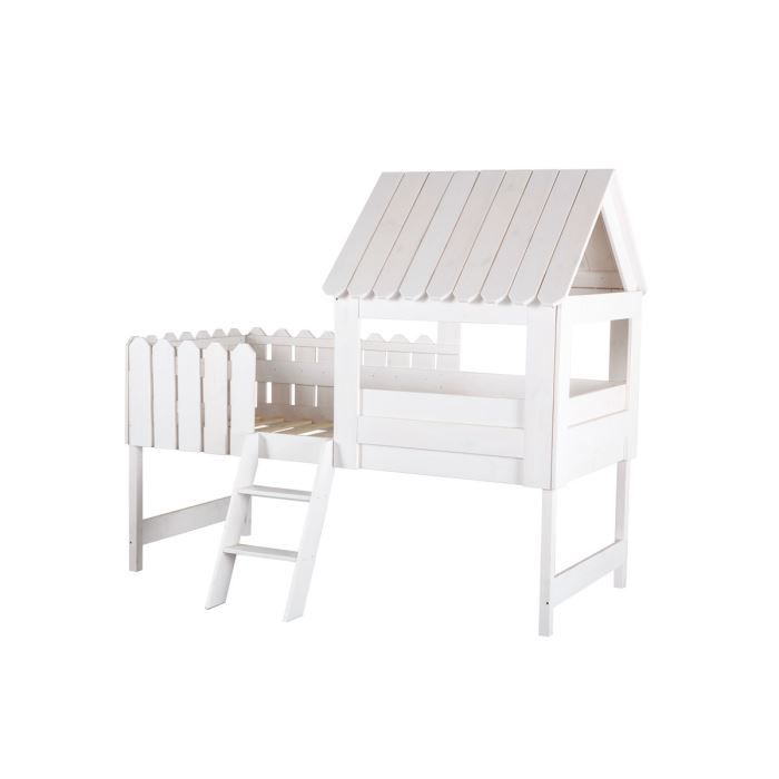 miliboo lit cabane enfant blanc little house achat vente lit combine miliboo lit cabane. Black Bedroom Furniture Sets. Home Design Ideas