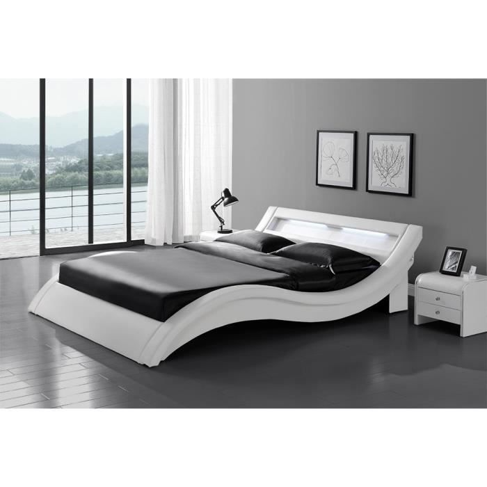 le laurine blanc cadre de lit led en simili 140 x190 cm achat vente cadre a lattes le. Black Bedroom Furniture Sets. Home Design Ideas