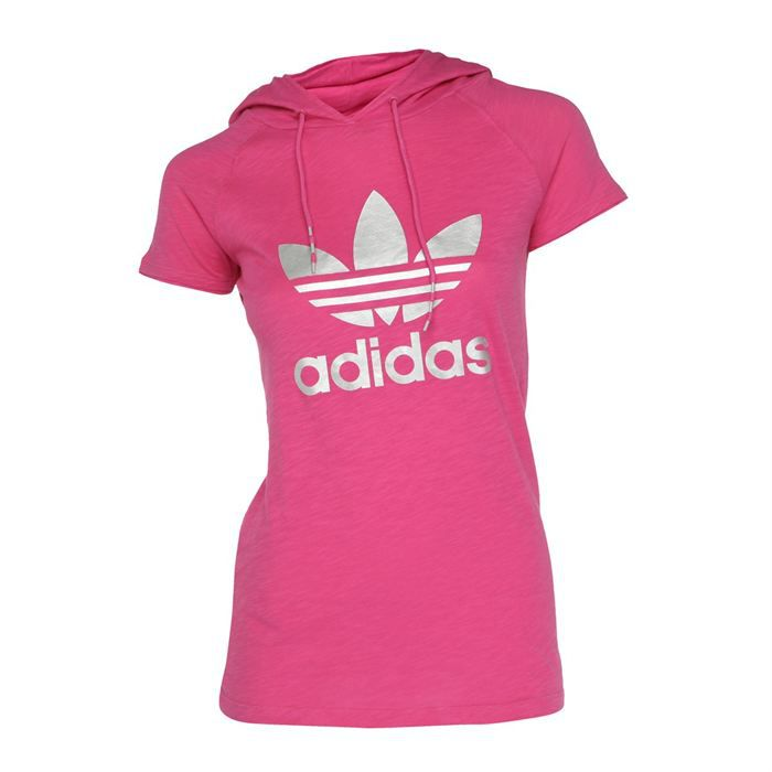 adidas original t shirt capuche femme fushia et argent achat vente t shirt cdiscount. Black Bedroom Furniture Sets. Home Design Ideas