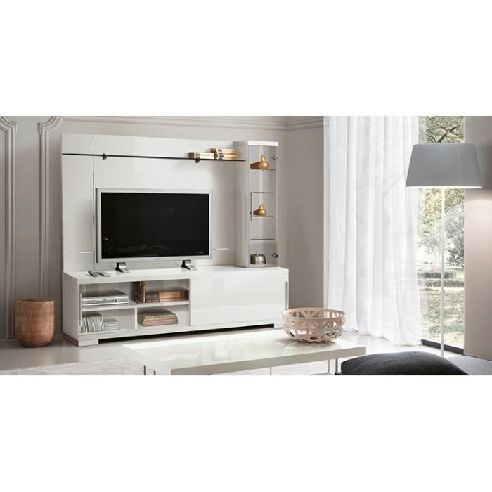 meuble tv glossy blanc avec composition murale achat. Black Bedroom Furniture Sets. Home Design Ideas