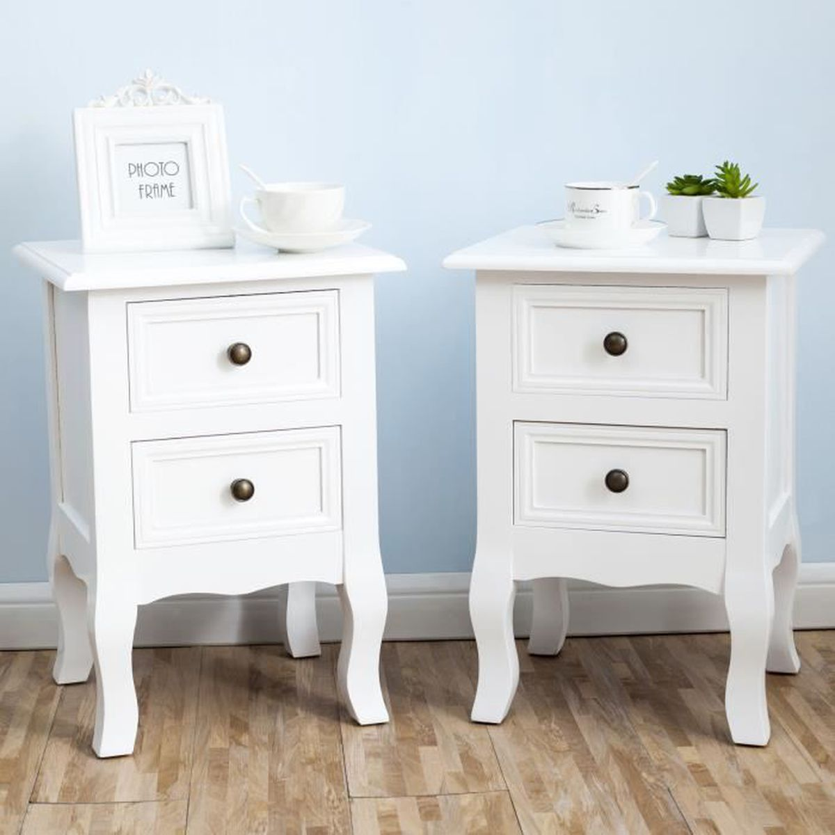 lot de 2 tables de chevet en bois 2 tirois blanc achat. Black Bedroom Furniture Sets. Home Design Ideas