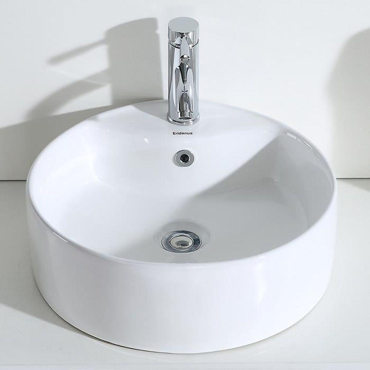 Eridanus S/érie Margot Vasque /à Poser Suspendu Salle de Bain Rectangulaire Lavabo en C/éramique Lave-Mains L43*L31*H13cm