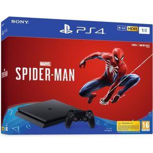 CONSOLE PS4 Console PS4 Slim 1To Noire/Jet Black + Marvel's Sp