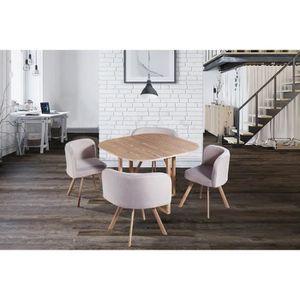 TABLE À MANGER COMPLÈTE Ensemble table + 4 chaises encastrable beige FLEN