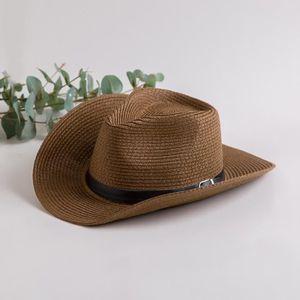 CHAPEAU - BOB Chapeau Cowboy Paille Homme Femme Mode