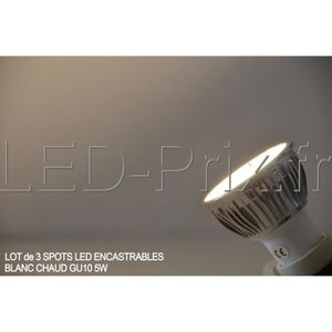 SPOTS - LIGNE DE SPOTS LOT DE 3 Spots LED encastrable GU10 5w Blanc Chaud