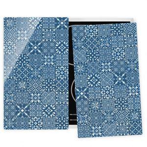 PLAQUE INDUCTION Couvre plaque de cuisson - Pattern Tiles Navy Whit