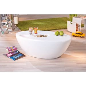 Table ronde laque blanche achat vente table ronde for Table ultra basse