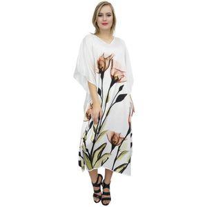 ROBE blanc caftan floral satin caftan de camouflage max