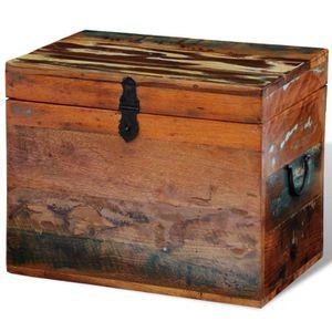 COFFRE - MALLE Coffre de stockage en bois recyclé solide coffre M
