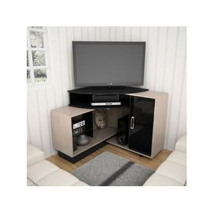 meuble tv d 39 angle salvador avec rangements mdf achat vente meuble tv meuble tv d 39 angle. Black Bedroom Furniture Sets. Home Design Ideas