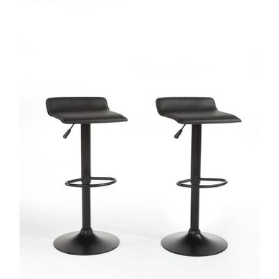 mateo lot de tabourets de bar rglables en simili noir achat vente tabouret de bar noir structure. Black Bedroom Furniture Sets. Home Design Ideas
