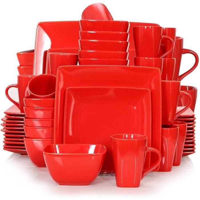 vancasso, Série Soho, Service Complet en Porcelaine Blanche, 48 pièces pour 12 Personnes, Assiette Plate Carrée avec Bol à Céréales