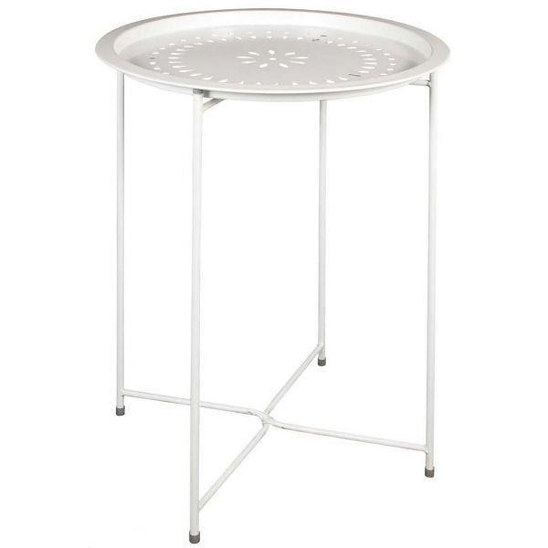 Table d'appoint en métal intérieur extérieur Blanc