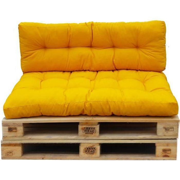 Set 2 coussins d'extérieur haute densité pour palette RIOU Moutarde