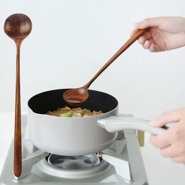 10,9 pouces de mélange en bois naturel vaisselle en bois à long manche fournitures de cuisine cuillères à soupe