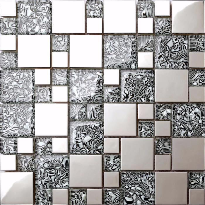 Carrelage mosaïque en verre et acier inoxydable. Gris, Argent. Les feuilles entières de carreaux mesurent 30cm x 30cm (MT0132)