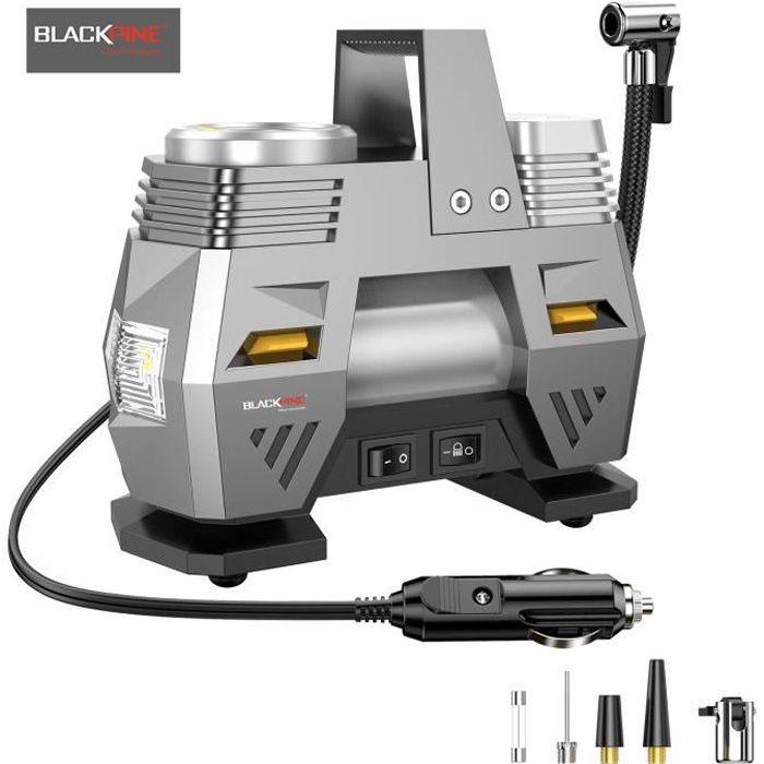BLACKPINE - Compresseur d' Air Portatif, 12V 120W Gonfleur Pneus Numérique avec Lampe LED 150PSI pour Voiture Moto Vélo Ball