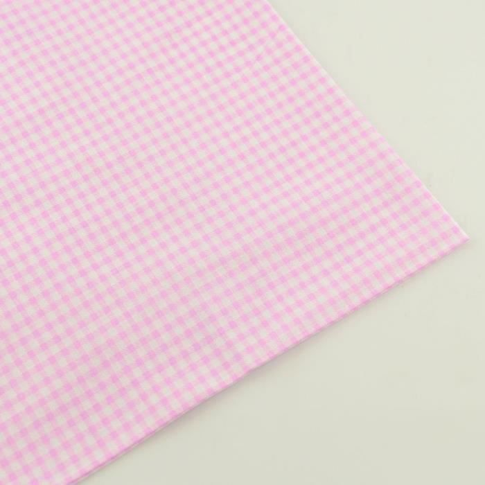Light Pink and White Check Design 100% Cotton Fabric Fat Quarter for Beginner's Practice Sewing Cloth Patchwork Crafts - Type 20x25