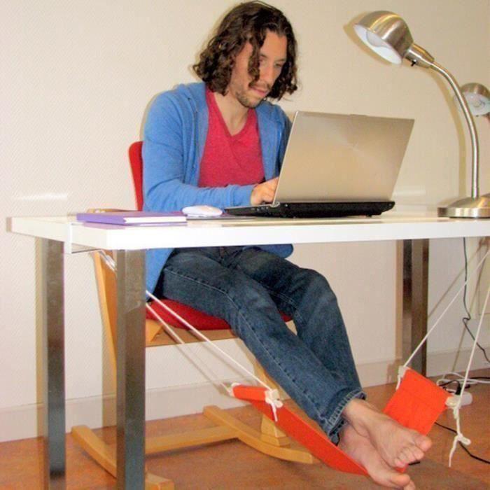 Hamac suspendu, Hamac repose pied bureau, hamac sur pied, Hamac pour bureau à domicile avec repose-pieds Orange LIJFK19591