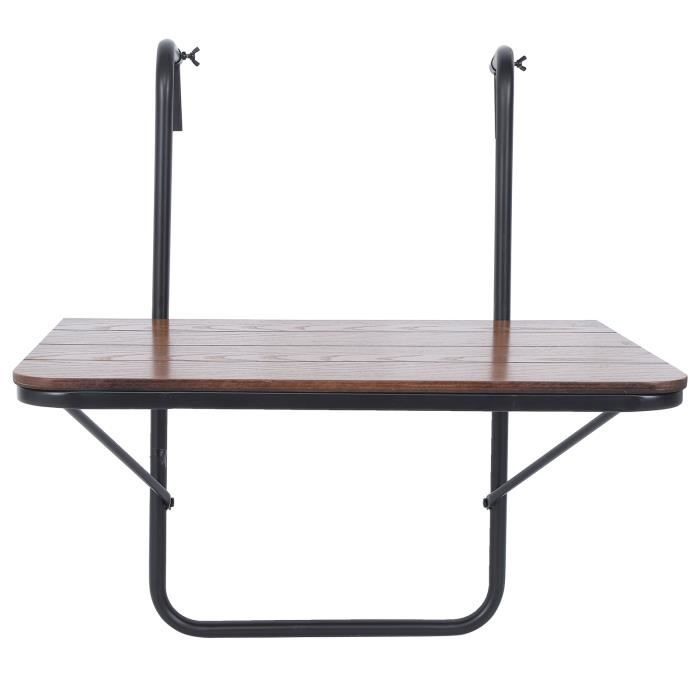 Dioche Table suspendue de balcon Balcon Table suspendue Garde-corps de haute qualité Table de jardin pliante en fer