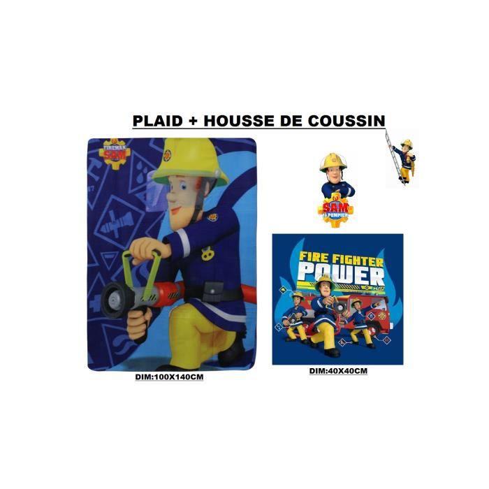 PLAID + HOUSSE DE COUSSIN SAM LE POMPIER