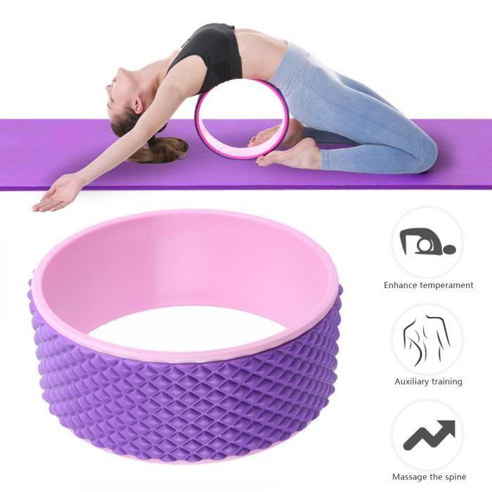 DUO Rouleau de yoga de massage de douleur de dos de roue de yoga de sport pour l'étirement du dos rose + rose rouge