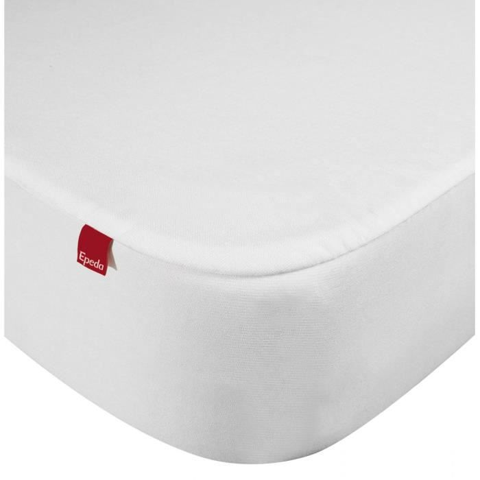 Drap housse protège matelas imperméable 2 en 1 Epeda blanc 120x200