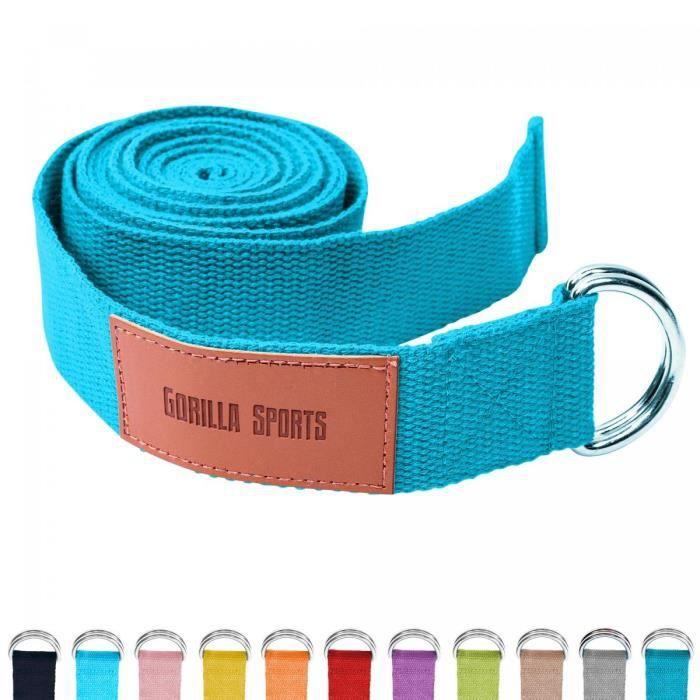 Sangle de Yoga Bleue - 100% coton - Sangle pour étirements - Fermetures en métal
