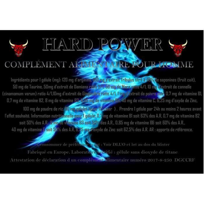 HARD POWER complément alimentaire 30 gélules pour hommes 100% naturel à base de TRIBULUS MACA GINGEMBRE TAURINE ARGININE ZINC,