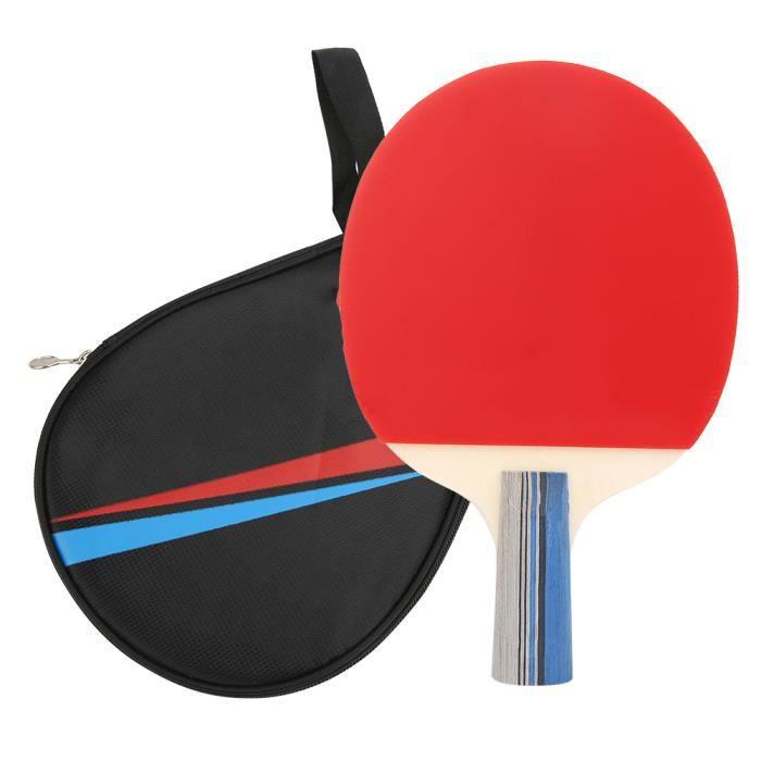 SEC Raquette de Tennis de Table Compétition d'Entraînement Pagaie de Ping-Pong Équipement de Sport avec Sac Rangement(manche court )
