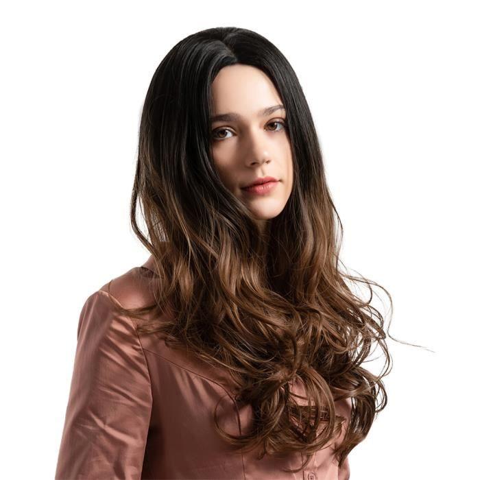 Ombre Couleur Milieu Partie 22 inch Perruques Cheveux Synthétiques Longs Ondulés Femmes 5 Styles UNE
